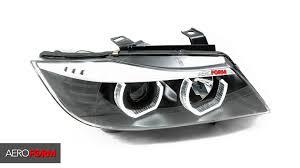bmw e90 headlights โคมไฟหน าโปรเจคเตอร e90 lci look f series style led daylight
