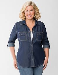 want http www lanebryant plus size tops studded denim shirt