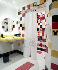 quite mickey mouse theme in kids bathroom ideas with wall mounted