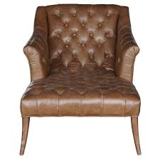 Leather Tufted Chair Roald Rustic Lodge Brown Leather Tufted Armchair Chaise Lounge