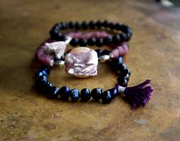 pearl bracelet elastic images Bohemian stack bracelet set of three black pearl and lava bead jpg