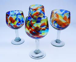 wine glass hand blown goblet 16oz confetti swirl