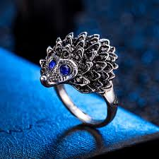 cute unique rings images Retro unique design cute hedgehog shaped women 39 s ring with black jpg