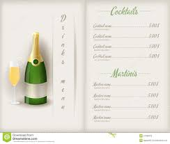 drink menu template free drink menu template stock vector image of element 41096432