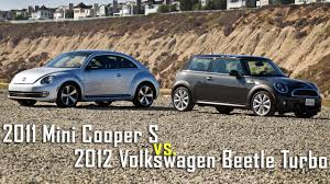 volkswagen bug 2012 mini cooper s vs vw beetle turbo road test u2013 roadandtrack com