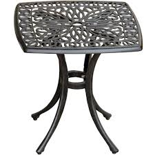 rosedown square cast aluminum patio end table by lakeview outdoor