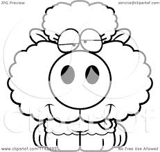 cartoon clipart of a black and white goofy baby sheep vector