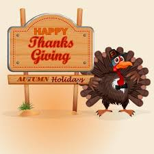happy thanksgiving message on wooden sign and turkey