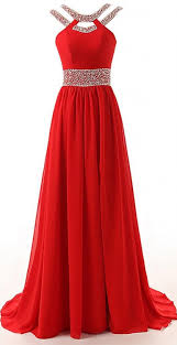 long a line red split beaded chiffon evening winter formal prom