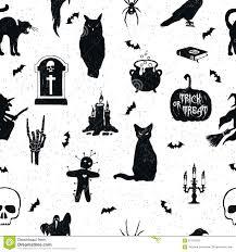 raven pumpkin pattern hand drawn halloween seamless pattern stock vector image 67124393