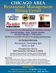 resumes for restaurant jobs restaurant management job fairs u0026 interviews chicago il area