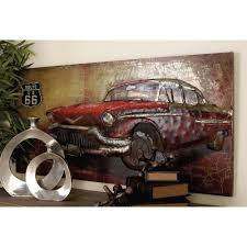 route 66 home decor 28 in x 55 in rustic iron vintage car and route 66 wall art