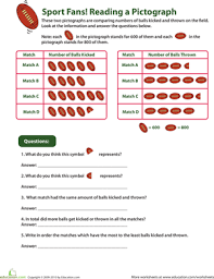 comparing pictographs football time worksheet education com