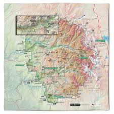 Yosemite Valley Map Yosemite National Park Handy Map Micro Fiber Cloth Bandana