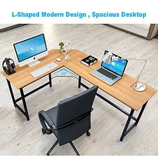 amazon com tribesigns modern l shaped desk corner computer desk