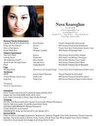 Theatrical Resume Musical Theater Resume Free Resume Example And Writing Download