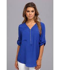 calvin klein blouses lyst calvin klein zip v neck blouse in blue