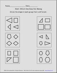 identifying shapes math worksheets with shapes kindergarten