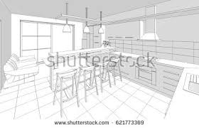 Interior Sketch by Abstract Sketch Design Interior Kitchen Stock Illustration