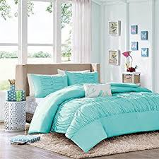 Ruched Bedding Amazon Com Modern Girls Kids Teen Bedding Aqua Light Blue Tufted