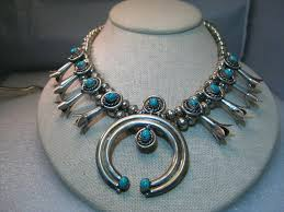 vintage silver choker necklace images Sterling silver navajo old pawn turquoise squash blossom choker JPG