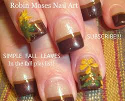easy fall leaf nail art thanksgiving nails design tutorial youtube