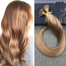 keratin bonded extensions i tip solid color caramel human hair pre bonded extensions