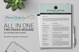 Two Page Resume Header All In One Two Pages Resume Pack Resume Templates Creative Market