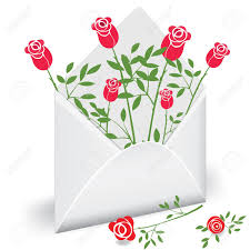 mail flowers open envelope with flower mail royalty free cliparts