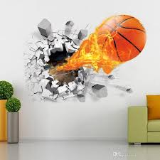 Sports Decals For Kids Rooms by 3d Basketball Wall Sticker Decals Basketball Wall Murals Home