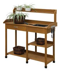 potting table with sink amazon com convenience concepts deluxe potting bench light oak