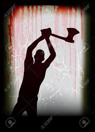 halloween vector poster with a ghostly axe man at a blood