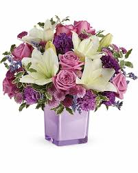 send flower pleasing purple bouquet send flowers to calgary