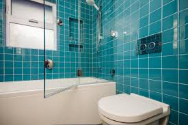 Bathroom Mosaic Tile Designs by Glass Enclosed Shower With Bold Teal Tiles This Modern Bathroom