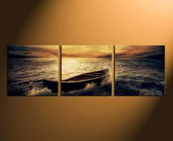 3 piece group canvas boat canvas wall art panoramic multi panel
