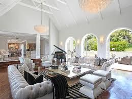 glamorous living room gray tufted sofas impressive interiors