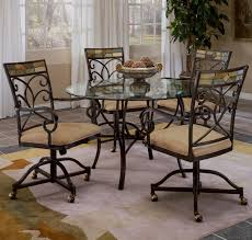 iron dining room chairs scrolling 5 piece dining set with casters by hillsdale wolf and