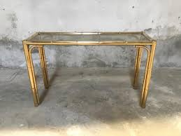 Glass Console Table Faux Bamboo And Glass Console Table 1970s For Sale At Pamono
