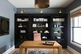 Black Book Shelves by Built In Office Nooks With Brass Sconces Transitional Den