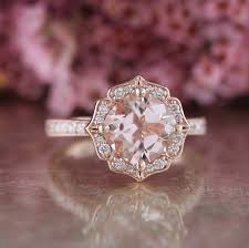 morganite gold engagement ring vintage floral morganite engagement ring in 14k gold