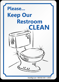 keep our restroom clean sign with graphic sku s 8976