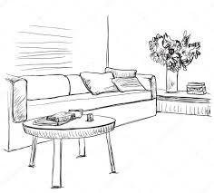 Sofa And Furniture Room Interior Sketch Sofa And Furniture U2014 Stock Vector
