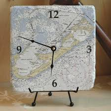 Nautical Desk Clock Nautical Chart Clocks
