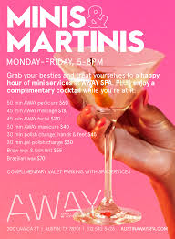 mini martini glasses mini services austin away spa located at the new w austin hotel