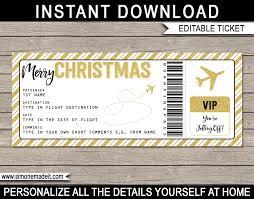 printable christmas gift plane ticket template editable diy gold