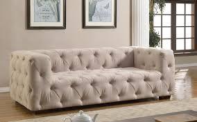 Modern Beige Sofa by Luxurious Modern Large Tufted Linen Fabric Sofa Walmart Com