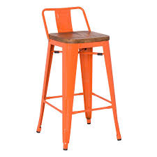Low Back Bar Stool Metro Modern Low Back Orange Bar Stool Eurway Modern
