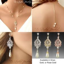 bridal necklace earrings images Back drop lariat bridal necklace earrings set silver gold or rose gold jpg