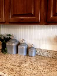 Beadboard Backsplash In Kitchen Magnificent Brown Wooden Cabinets With White Beadboard Backsplash