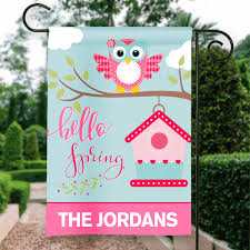 hello spring baby owl personalized holiday garden house flag
